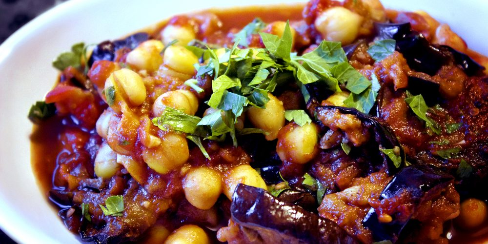 Curried Chickpea And Eggplant Stew